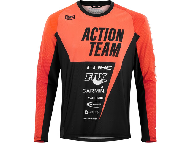 Cube Edge Maillot manches longues Col rond X Actionteam Homme, orange´n´black